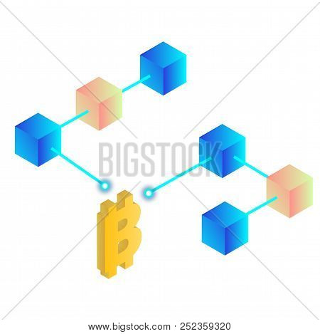 Blockchain Concept Bitcoin Isometric Blockchain Background Vector Image