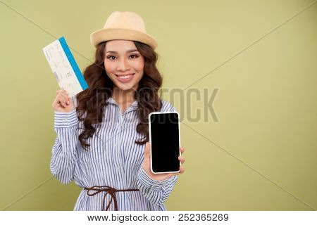 Image Of Successful Voyage Girl 20S Expressing Delight While Holding Air Tickets And Smartphone In H