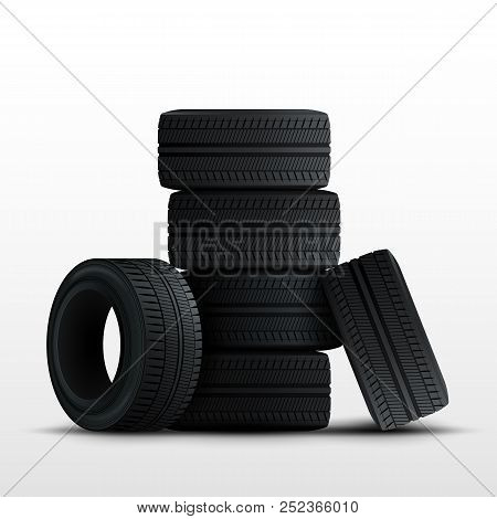 Tires Set. 3d Realistic Car Tires Isolated On White. Vector