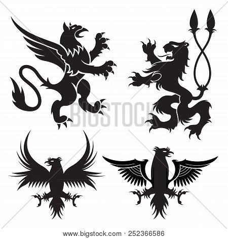 Ancient Heraldic Griffins Symbols Of Black Majestic Beasts With Body Of Lion, Angel Wings And Eagle