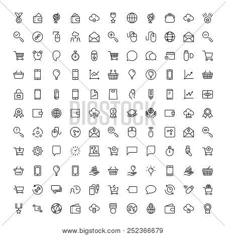 Marketing Flat Icon Set. Single High Quality Outline Symbol Of Info For Web Design Or Mobile App. Th