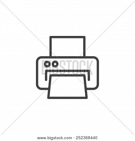 Printer Outline Icon. Linear Style Sign For Mobile Concept And Web Design. Printing Printer Simple L