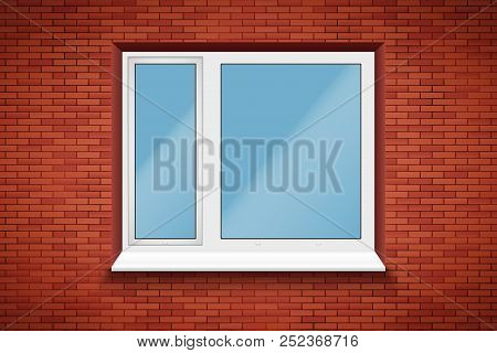 Metal Plastic Pvc Big Window With Two Sash In Brick Wall. Outdoor View. Presentation Of Models And F