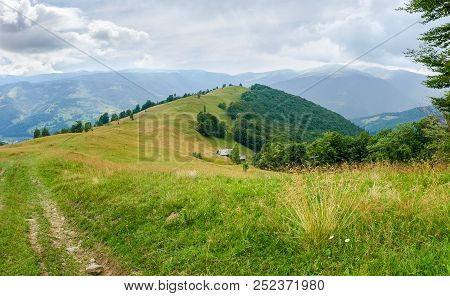 Glade On Crest Of The Ridge With Hayfield And Deciduous Forest On A Slopes On A Background Of Opposi