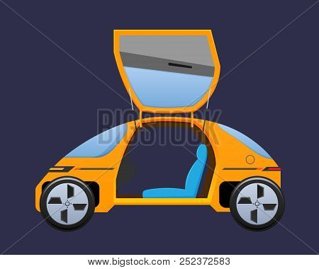 Beautiful Orange Single-seat Electric Vehicle, Automobile With Doors Opening Upward.