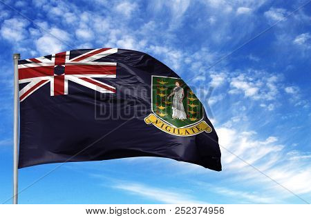 National Flag Of British Virgin Islands On A Flagpole