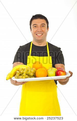 Happy Fruiterer Offering Fresh Fruits