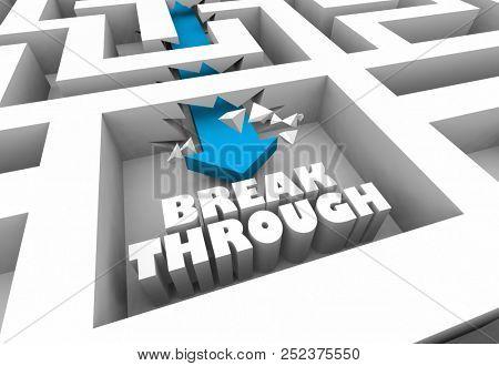 Breakthrough Innovation Solve Problem Solution Maze 3d Illustration