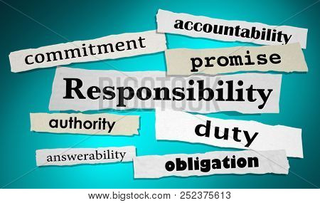 Responsibility Duty Obligtation Headlines 3d Illustration