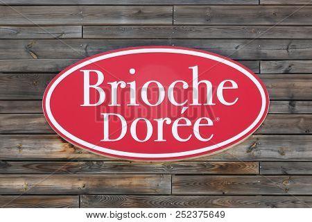Marguerittes, France - July 1, 2018: Brioche Doree Logo On A Wall. Brioche Doree Is A French Chain O
