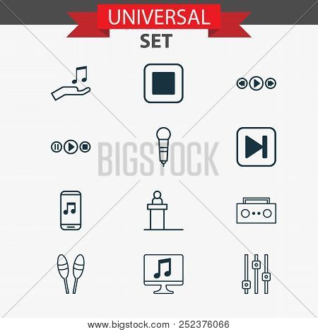 Music Icons Set With Computer, Audio Buttons, Sell Music And Other Microphone Elements. Isolated Vec