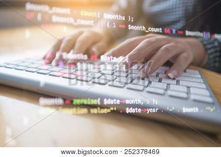 Programmer Hands Working At Home With Computer. Woman Writing A Code. Female Programmer Hands On The