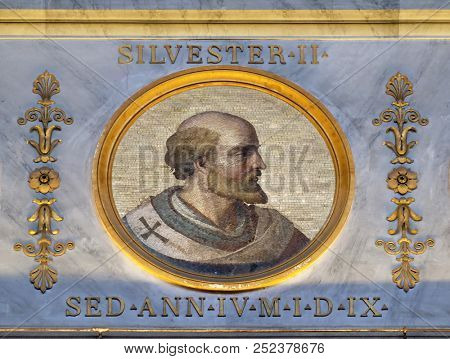 ROME, ITALY - SEPTEMBER 05: Pope Sylvester II or Silvester II was Pope from 2 April 999 to his death in 1003, basilica of Saint Paul Outside the Walls, Rome, Italy on September 05, 2016.