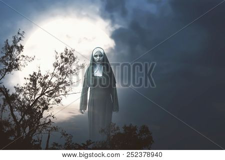Scary Devil Nun With Full Moon Background. Halloween Concept