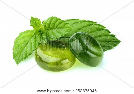 Mint Candy With Leaf Mint Isolated On White Background.
