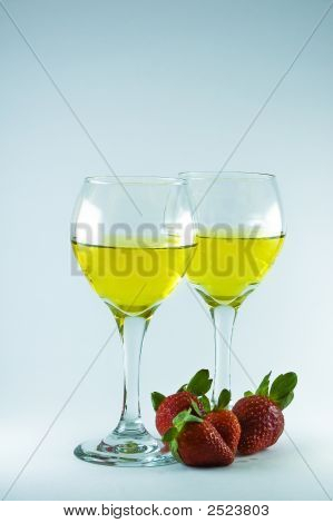 Two Wine Glasses With Strawberries