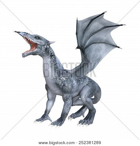 3D Rendering Fantasy Dragon Whelp On White