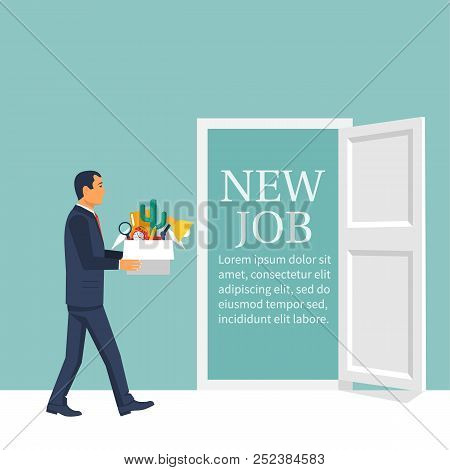 New Job Concept. Man With A Box In His Hands Enters The Door Of A New Job. Welcome Employee. Success