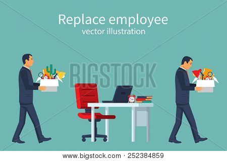 Employee Replacement. Turnover Workers. Vector Illustration Flat Design. Isolated On White Backgroun