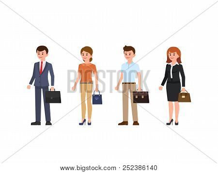 Business People Cartoon Character Set. Young Men And Women Standing With Briefcase And Bag