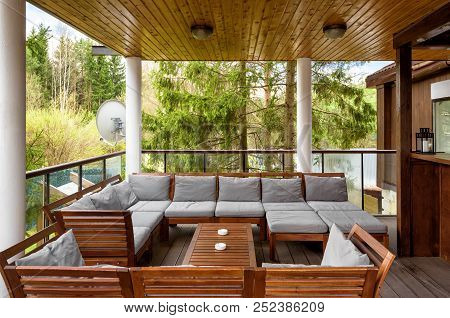 Moscow - May 2, 2018: Cozy Terrace In Country House Or Hotel In Summer Interior Design Of Patio In R