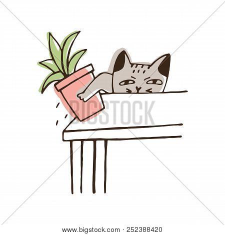 Nasty Cat Throwing Potted Plant Off Table. Amusing Naughty Kitty Dropping Houseplant Isolated On Whi