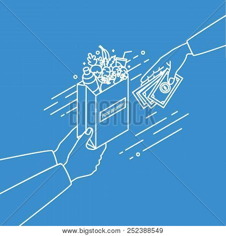 Hands Holding Paper Bag With Fruits And Vegetables And Passing Money Drawn With Contour Lines On Blu