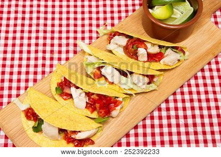 Mexican Cuisine Tacos Mexican Style Tacos With Chicken And Salsa With Avocado, Tomatoes And Chillies
