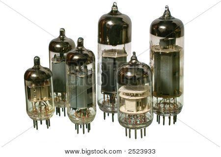 Set Of Varisized Old Vacuum Radio Tubes.