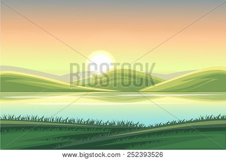 Rural Landscape. Fields And Hills At Dawn. Summer Mountain Rural Landscape. Illustration Of Nature W
