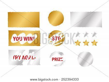 Scratch Card Win. Scratch Card Elements. Win Game Lottery Prize