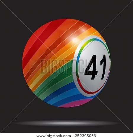 3d Illustration Of A Multicoloured Striped Bingo Lotto Lottery Ball Over Black Background With White
