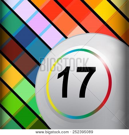 3d Illustration Of White Bingo Lotto Lottery Ball In A Corner Of A Multicoloured Background