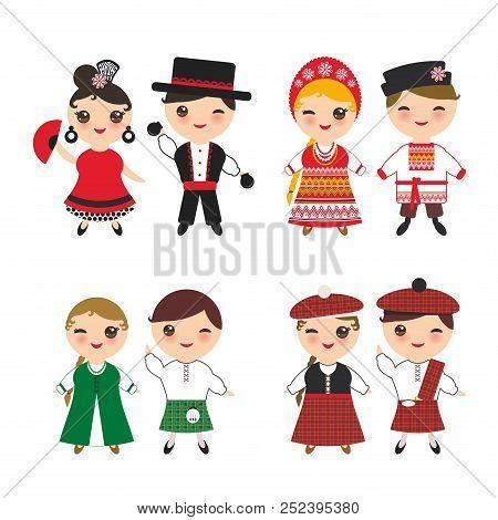 Ireland Scotsman Slavic Spanish Flamenco Dancer Boy And Girl In National Costume And Hat. Cartoon Ch