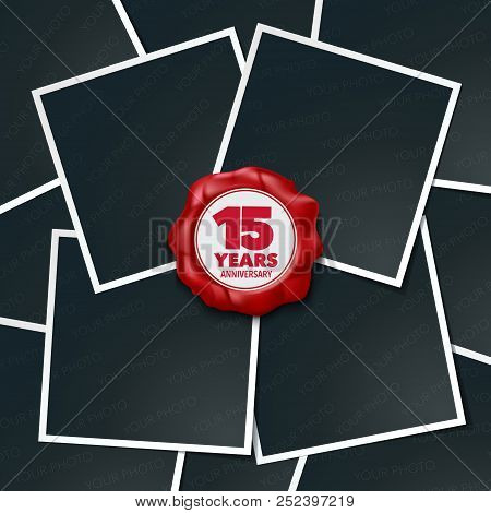 15 Years Anniversary Vector Icon, Logo. Design Element, Greeting Card With Collage Of Photo Frames A