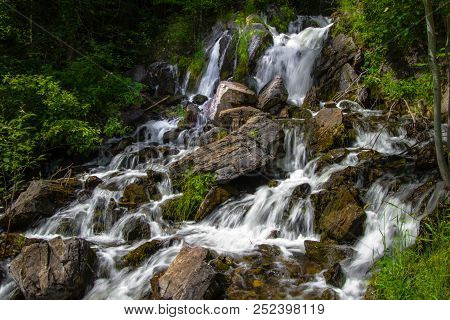 Upper Peninsula Michigan Roadside Waterfall. Beautiful Fumee Falls Outside Of Iron Mountain, Michiga