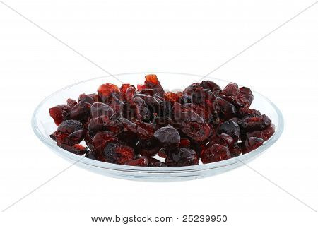Dried Cranberries On Glass Plate