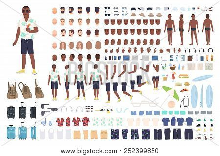 Guy On Vacation Animation Or Diy Kit. Collection Of Male Tourist Body Elements, Gestures, Clothes, T