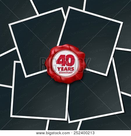 40 Years Anniversary Vector Icon, Logo. Design Element, Greeting Card With Collage Of Photo Frames A
