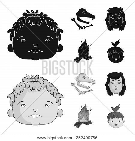 Woman, Hair, Face, Bonfire .stone Age Set Collection Icons In Black, Monochrome Style Vector Symbol