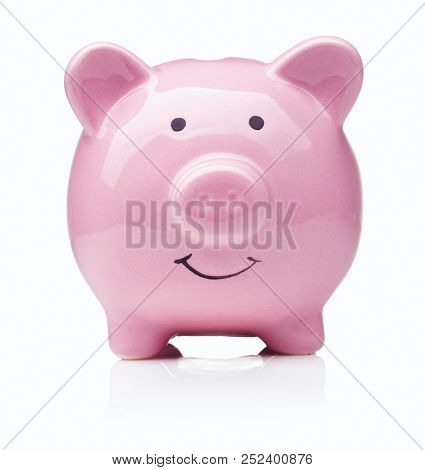 Single Ceramic Pink Piggy Bank Isolated On White Background