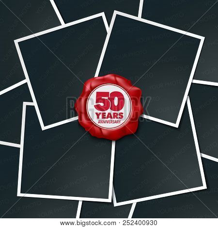 50 Years Anniversary Vector Icon, Logo. Design Element, Greeting Card With Collage Of Photo Frames A