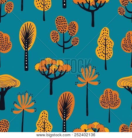 Seamless Pattern With Different Hand Drawn Autumn Trees On Blue Background. Backdrop With Cartoon Wo