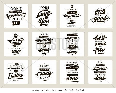 Set Of Cards With Quotes. Vector Typography Design. Motivational And Inspirational Phrases. Usable A