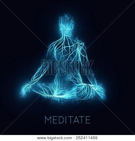 Vector Concept Of Human Meditaion. Sacral Energy Flows Through Prayer Body On His Way To Enlightment