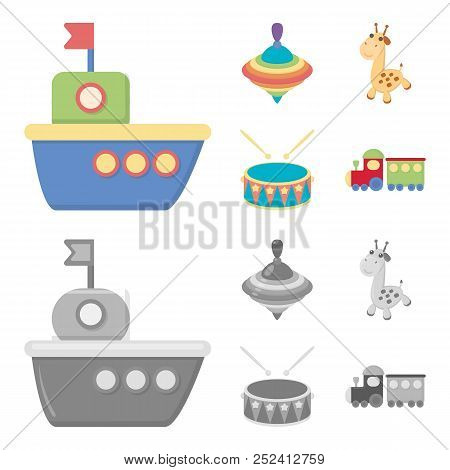 Ship, Yule, Giraffe, Drum.toys Set Collection Icons In Cartoon, Monochrome Style Vector Symbol Stock