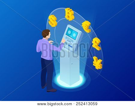 Isometric Modern Bitcoin Atm. Cryptocurrency Cash Dispenser. Buying And Selling Bitcoins, One Of New