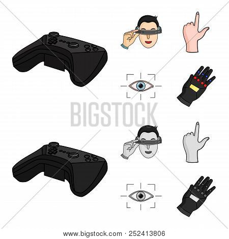 Virtual, Reality, Helmet, Computer, Technology, .virtual Reality Set Collection Icons In Cartoon, Mo
