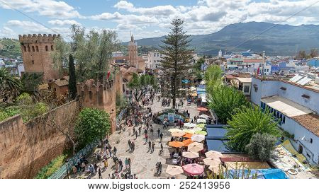 Chefchaouen, Morocco - April 2018: Chefchaouen Medina Center Panaroma With Unidentified People, Blue