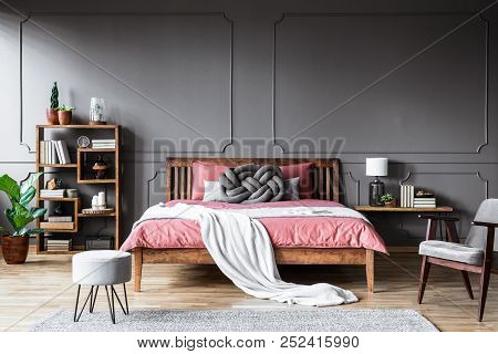 Grey And Pink Cozy Bedroom
